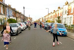 Children playing in Francis Avenue when it was closed for traffic calming measures earlier this year. L-R Hattie Preston-Diggles, Coco Preston-Diggles and Robyn Mellor. Picture from Laura Mellor