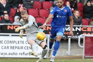 Vadaine Oliver in action for Morecambe against the Cobblers last season