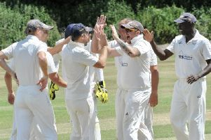 Broadwater celebrate a wicket against near neighbours Findon on Saturday. All pictures by Stephen Goodger