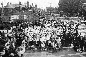 Ready for the start of the mens and boys walking races in July 1904 from Cosham Railway Station.  Photo: Eddy Amey collection.