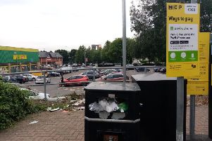 """A frustrated resident says he is """"appalled"""" at the condition of bins on the NCP's St Peter's Way car park."""