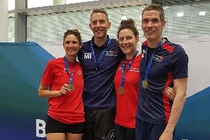 Fareham Nomads relay team of Joanna Corben, Martin Bennell, Noemie Plumridge and Johannes Berbers at the British Masters Swimming Championships in Swansea