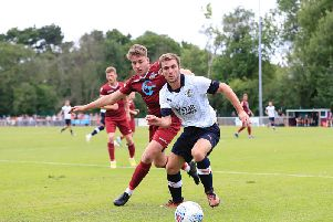 Callum McManaman in possession against Welwyn Garden City on Saturday