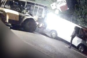Still image from footage of the ram raid. Picture: Hampshire Constabulary