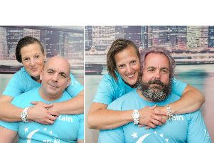 John Parker grew his hair and beard for six months - here pictured in January and July 2019 with his wife Katy at home in Havant.  ''Picture: Habibur Rahman