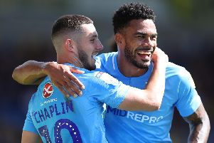 Former Pompey favourite Conor Chaplin, left, with Jordan Willis who's completed a move to Sunderland from Coventry. Picture: Catherine Ivill/Getty Images