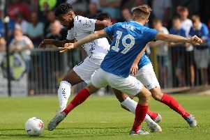 Hawks striker Jonah Ayunga in action against Pompey. Picture: Dave Haines