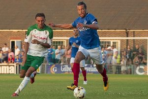 Christian Burgess in action for Pompey against Bognor last season. Picture: Tommy McMillan
