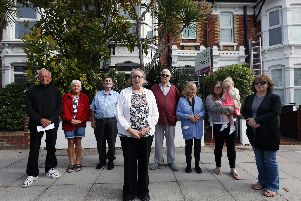 Residents who object to proposals to convert 56 Shadwell Road, Hilsea, into a five bedroom House of Multiple Occupation. Val Russell, fourth left.       Picture: Chris Moorhouse           (120619-2)