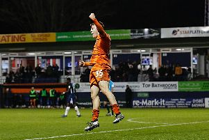 Arthur Read celebrates scoring for Luton last season