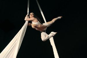 An aerial silks performance
