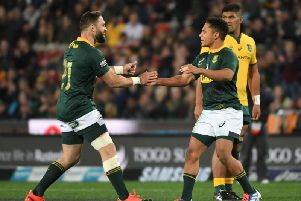 Cobus Reinach and Herschel Jantjies (right) both impressed for the Springboks last Saturday