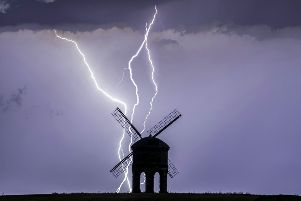 Incredible lightning strike at the 17th century Chesterton Windmill near Leamington Spa, Warks. July 24 2019. See SWNS story SWMDlightning.