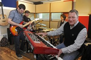 Dominic Elton, at the keys at Mayfield recording studio with house band members Dan Sawyers, Aaron Hartley and Gregg Powell. Picture Ian Hargreaves  (170490-1)
