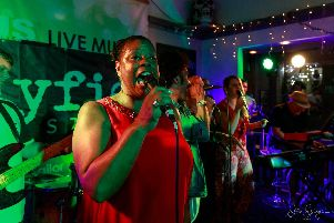 Marlene Hill with the Mayfield House Band at The Jolly Sailor on July 26, 2019. Picture by Steve Spurgin