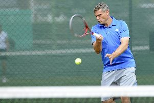 Doug Galley in action for Avenue against JEM Tennis. Picture: Ian Hargreaves (010719-2)