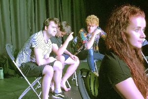 The cast of Team! in rehearsal. From left: Sam O'Hanlon, Paul Bradshaw,  Archie McKeown and Lauren Smith