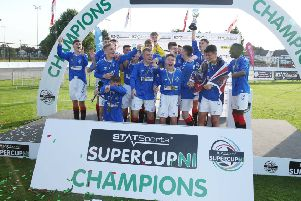 Rangers celebrate their 2-0 win over Charlton Athletic in the STATSports SuperCupNI Junior Final, at Ballymena  Showgrounds. Picture by Brian Little/PressEye