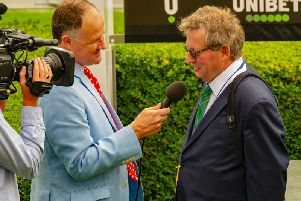 The week's top trainer is interviwed by Anthony Kemp after one of his six wins / Picture by Tommy McMillan