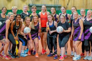 Boston netballers meet Jade Clarke. Photo: David Dales.