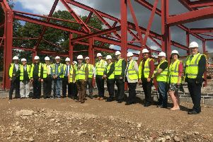 Councillors on site at the new community building in Tower Gardens, Skegness.