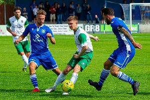 Doug Tuck tries to get Bognor on the front foot at Bishop's Stortford / Picture by Tommy McMillan