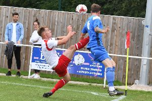 Skegness Town football action and player pics. Leigh Hutchinson