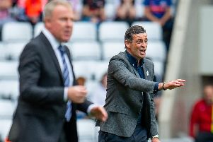 Sunderland AFC manager, Jack Ross shouts at his players during the EFL Sky Bet League 1 match between Sunderland and Portsmouth at the Stadium Of Light, Sunderland, England on 17 August 2019.