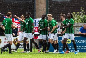 Burgess Hill Town celebrate one of their seven goals
