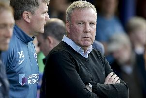 Pompey boss Kenny Jackett and assistant Joe Gallen watch on against Coventry. Photo by Robin Jones.
