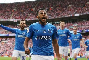 Nathan Thompson celebrates scoring his goal against Sunderland at Wembley. Picture: Joe Pepler