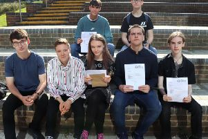 Hastings Academy students with their results SUS-190822-111318001