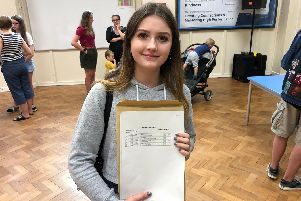 Louise Crossland celebrates her results after overcoming panic attacks in all of her exams.