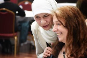 Shahida Khan (in white) with a guest. To find out more about the conferences: http://thelikemecic.org.uk