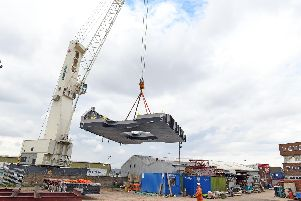 The second of two 95 tonne FSU's - Fender Spacer Units for the HMS Queen Elizabeth aircraft carrier constructed by ML Ltd.