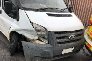 The van involved in the crash. Photo by Warwickshire Police