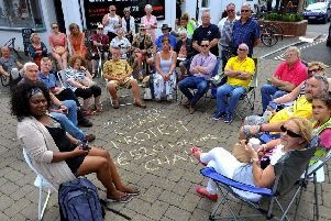 Tables and chairs protest in Littlehampton town centre against charges introduced by county council. Pic Steve Robards. SR1921461 SUS-190828-192751001