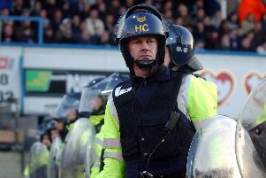 Riot police at Fratton Park during a South Coast derby in March 2004. Picture: Jonathan Brady