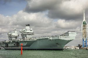 The HMS Queen Elizabeth sets sail from Portsmouth today as it prepares to take part in exercises off the east coast of the USA. Picture: Royal Navy Photographers