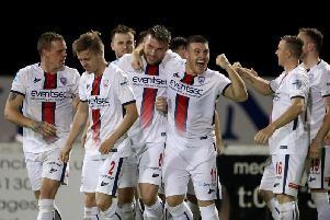 Stevie Lowry celebrates his second goal against Glenavon on Friday night
