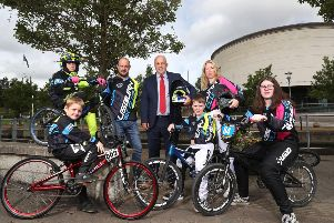 George Gordon, Chairman of Lisburn BMX Club and Alderman James Tinsley, Chairman of LCCC's Leisure & Community Development Committee with members of the club (l-r) Joshua Eagleson, Sorcha McConnell, Noah Kelly, Amy McConnell and Finn McConnell