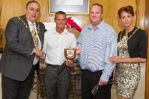 The lord mayor, Cllr David Fuller, with rescuers Gary Crook and Andy Birch and the lord mayor's sister, Leza Tremorin. Picture: Habibur Rahman