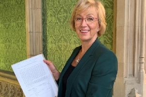 South Northamptonshire MP Andrea Leadsom with the Stop Rail Central and Stop Northampton Gateway petition