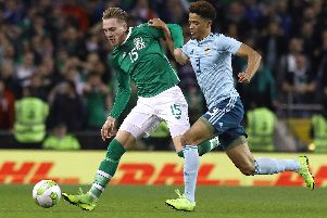 Ronan Curtis on his Republic of Ireland debut against Northern Ireland last year. Picture: PA Images