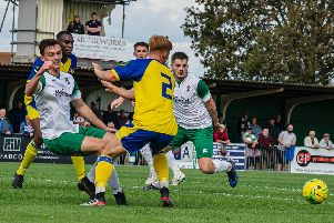 Dan Smith and Brad Lethbridge take the attack to Sittingbourne as Bognor make FA Cup progress / Picture by Tommy McMillan