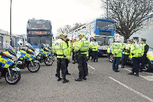 BUBBLE CONVOY The 33 buses left from Rodney Road, Portsmouth on April 7, 2012, to St Mary's Stadium in Southampton for the Pompey v Saints match. Picture: Sarah Standing (121241-6855)