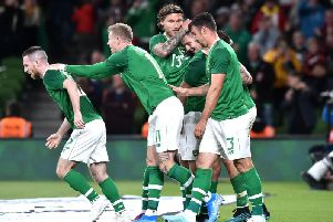 James Collins is mobbed after scoring his first goal for Ireland last night
