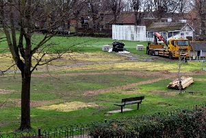 Priory Park after the ice rink was dismantled