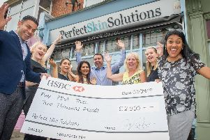2/9/19''STORY: A skin clinic in Portsmouth, Perfect Skin Solutions has raised 2,000 for MSA Trust, a charity that supports people with MSA. The company's founder Dr Dev Patel lost his father to MSA. ''Pictured: Medical Director, Dr Dev Patel with staff, Amy Jenkins, Francesca Muscat, his wife, Nishal Patel, budiness manager - Simon Dixon, patients Kay Gingell and Danielle Carrier and Tanya Mitra from the MSA Trust.''Picture: Habibur Rahman'
