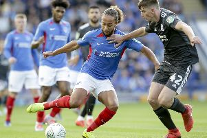 Marcus Harness had been in impressive form for Pompey before a thigh injury struck. Picture: Robin Jones